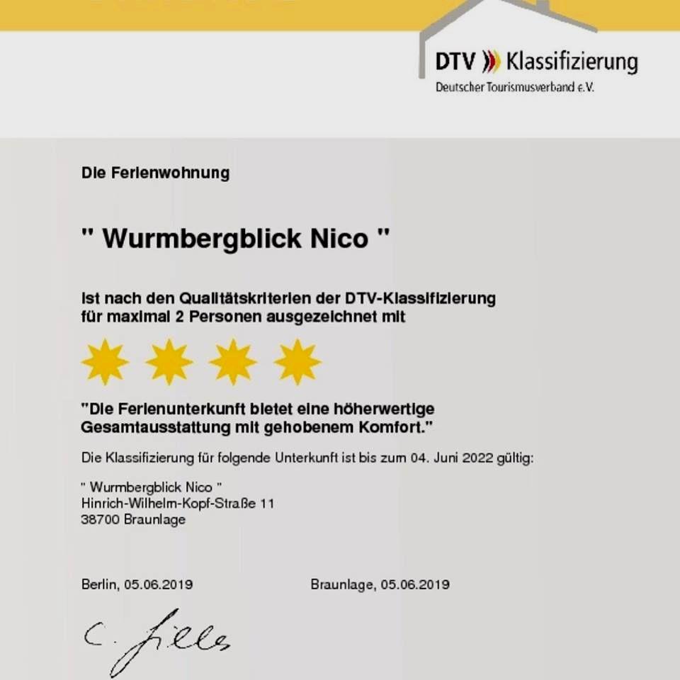 "4 Sterne Ferienwohnung ""Wurmbergblick Nico"""